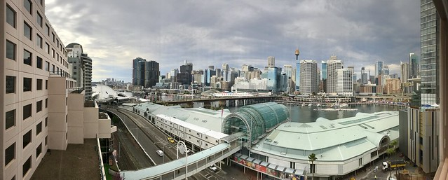 View over Harbourside Shopping Mall to Darling Harbour and City, Sydney, NSW