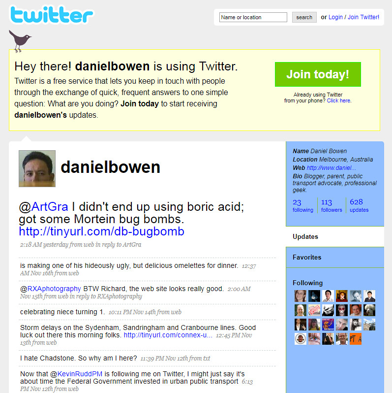 My Twitter page in November 2008 (courtesy of the Web Archive)