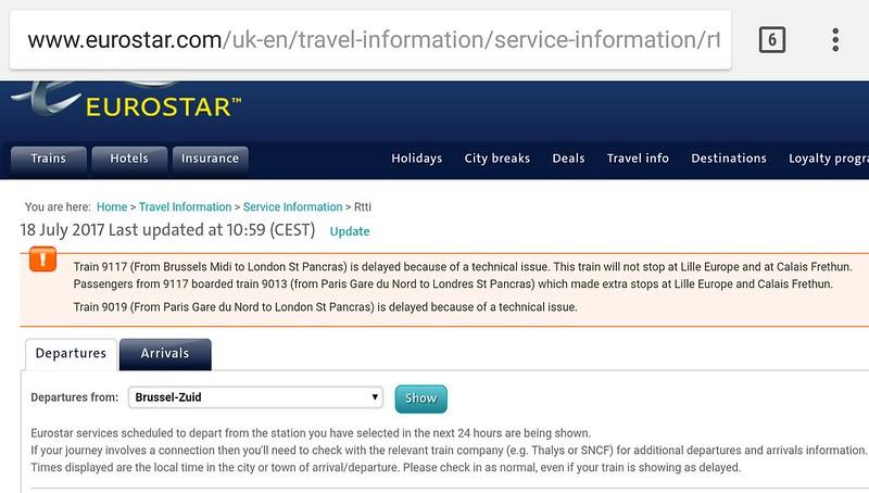Eurostar service disruptions