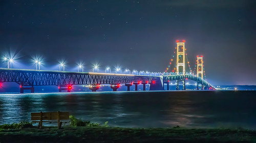bridge mackinac mackinaw city michigan night sky stars light lights color bench lonely serene beach shore sea lake seascape landscape architecture structure straits canon 6d eos digital long exposure dslr tripod