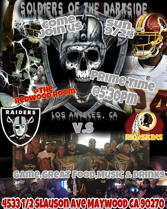 If you are,looking t for a chill spot to watch the Game and feel like youre at Home, Come Join the Soldiers of The DarkSide Family @The Redwood Room in the City of Maywood Ca. Get there Early seating is limited.. hope to see you there! #PRIDEANDPOISE #JU