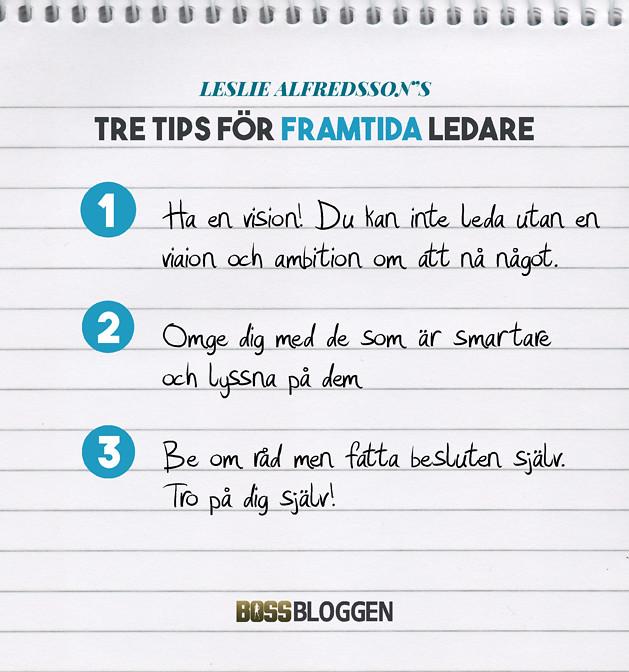 Tre Tips Leslie Alfredsson