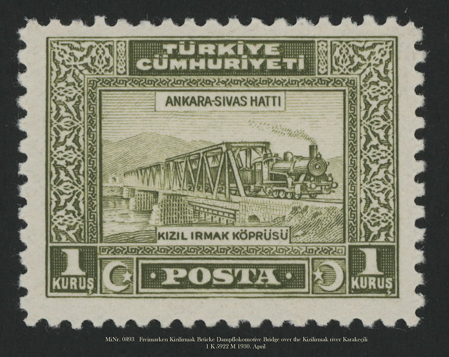 MiNr. 0893   Freimarken Kizilirmak Brücke Dampflokomotive Bridge over the Kizilirmak river Karakeçili  1 Turkish kuruş 5922 M 1930. April Sivas
