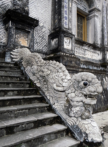 Dragon-dog staircase at the Royal Tomb #1 in Hue, Vietnam