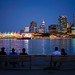 Nice Spot to View Vancouver Downtown City Skyline during Blue Hours, in Stanley Park, Vancouver BC Canada