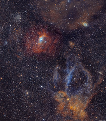 The Bubble Nebula & Lobster Claw Nebula
