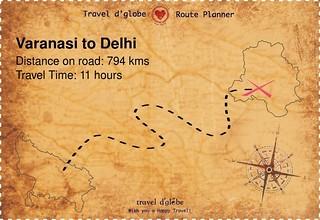 Map from Varanasi to Delhi