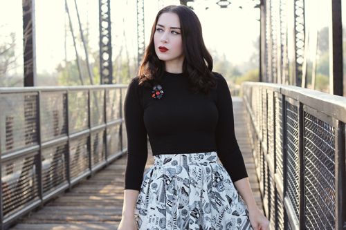 Folter Objects of Desire Skirt Vixen by Micheline Pitt Bad Girl Long Sleeved Top in Black