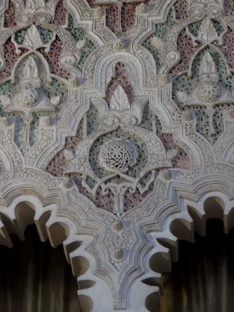 Décor de l'arche, ancienne synagogue del Transito (XIVe), calle Reyes Catolicos, Tolède, Castille-La Manche, Espagne.
