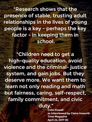 "Quotation: ""Research shows that the presence of stable, trusting adult relationships in the lives of young people is a key....."""