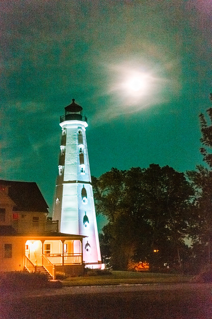 Moon Over Lighthouse 2
