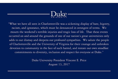 A statement from President Price on the events in #Charlottesville this past weekend.