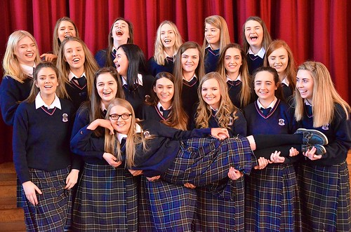 A joyful photo of some of the 6th years at St Louis Monaghan