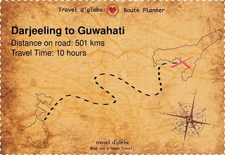 Map from Darjeeling to Guwahati