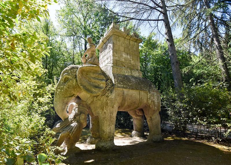 Elephant statue, Parco dei Mostri, Bomarzo, Italy