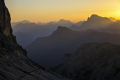 Sunrise over the Dolomites: here on Pale di San Martino (Trentino, Dolomiti, Dolomiten)