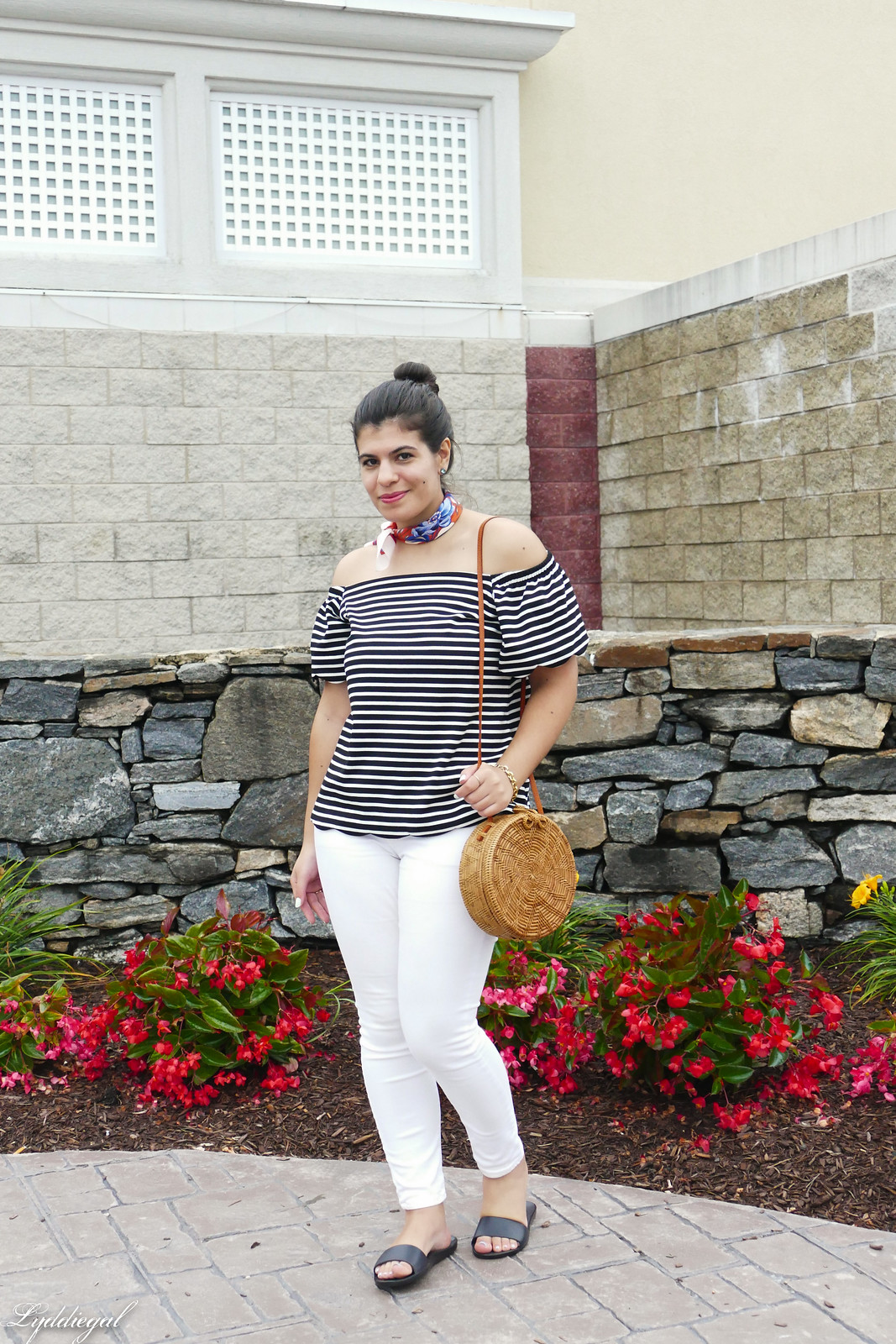 striped of the shoulder top, white jeans, straw bag, soak slides.jpg
