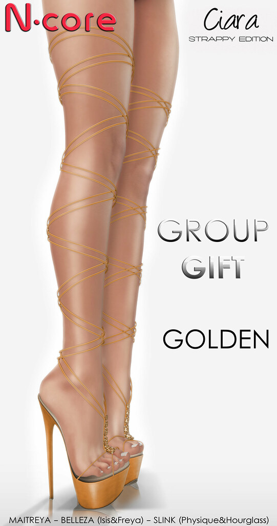 "N-core CIARA ""Strappy Edition"" (Golden) GROUP GIFT! - SecondLifeHub.com"