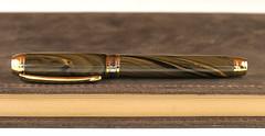 Black and Gold Ebonite Fountain Pen - 23K gold plated Bock Nib