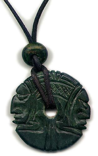 Jade pendant from Guatemala featuring the Mayan god of corn