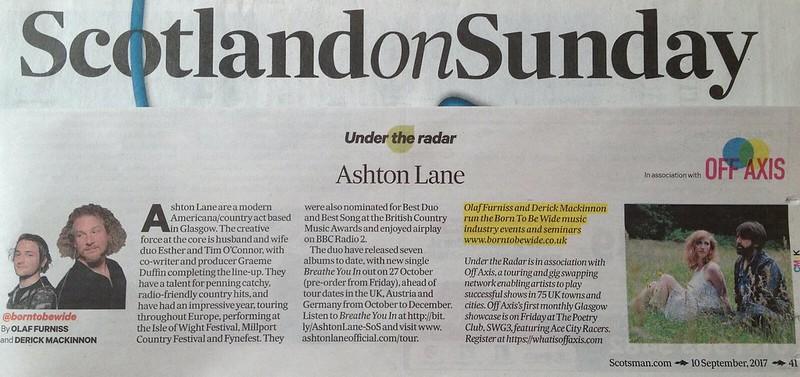 Scotland On Sunday, 10 September 2017, Ashton Lane