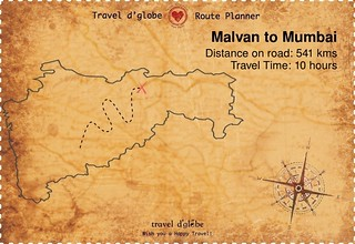 Map from Malvan to Mumbai