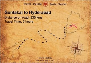 Map from Guntakal to Hyderabad