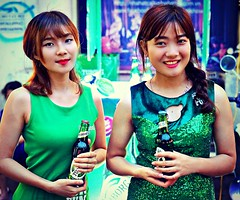 Smiling Beauties in Green
