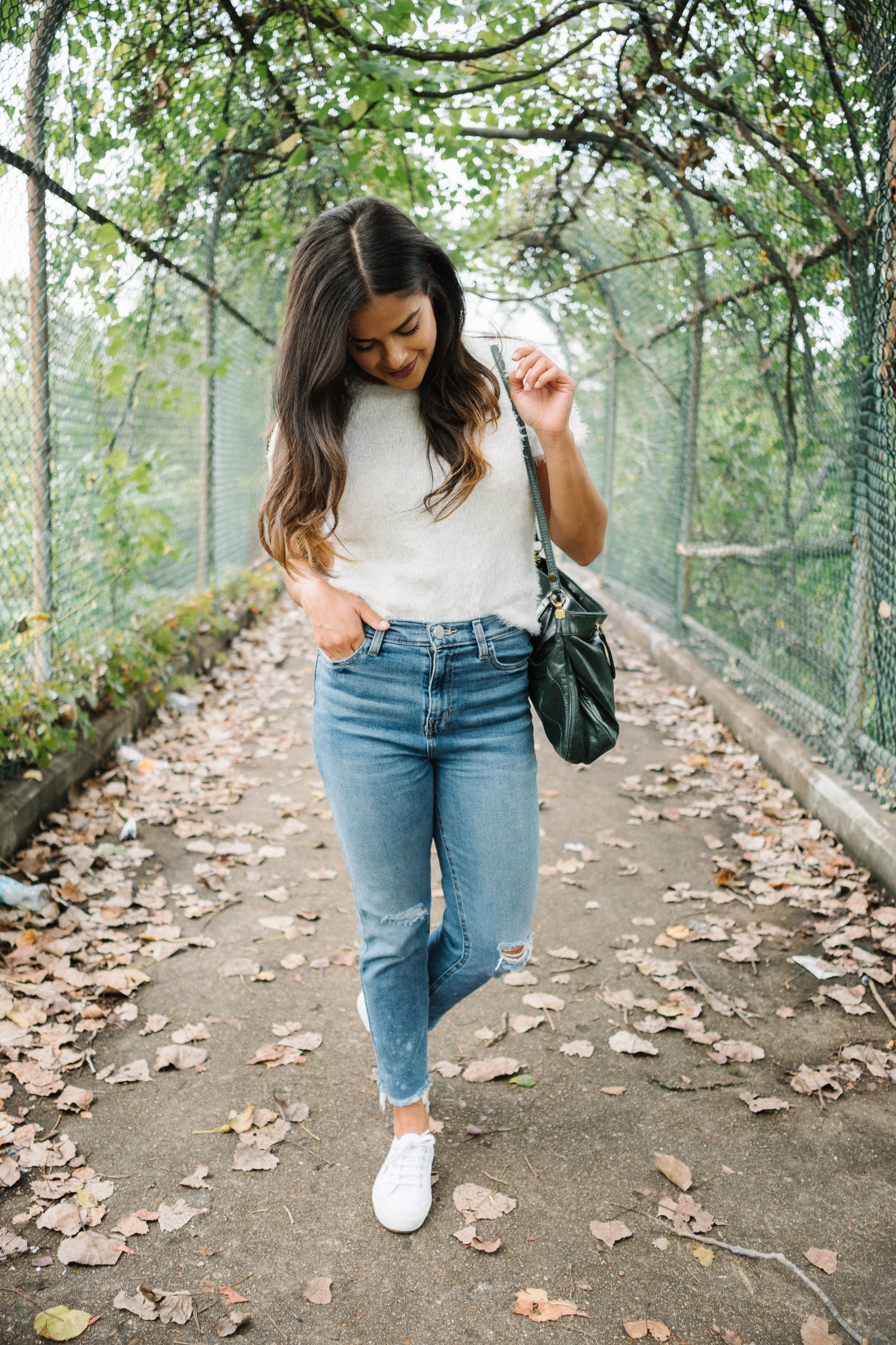 Nashville style blogger, Priya the Blog, fuzzy sweater, white Superga trainers, Fall transitional outfit, transitional Summer outfit, How to wear a fuzzy sweater, Mohair, Mo' Problems