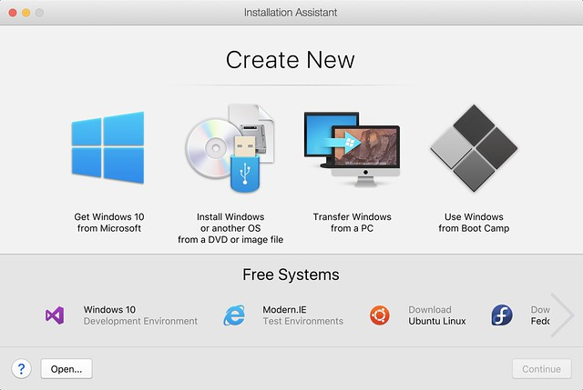 Parallels Desktop 13 New VM Wizard