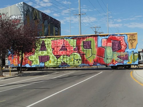 Graffiti-ed box car