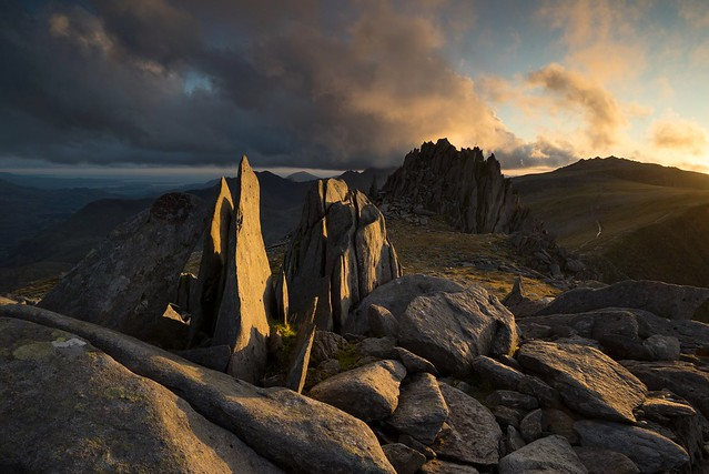 Early evening dramatic light on the Castle. Castell y Gwynt, Snowdonia.
