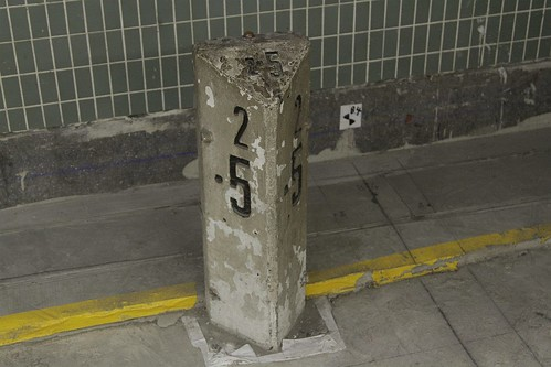 2.5 kilometre milepost at Mong Kok East station