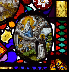The Blessed Virgin gives St Dominic a rosary