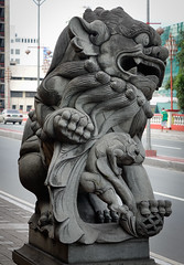 A lion statue on street in Manila, Philippines