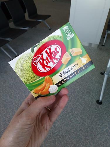 Hokkaido melon KitKats at the airport