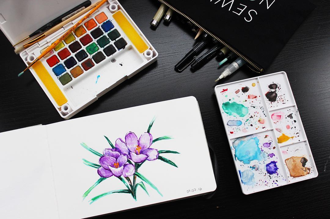 watercolor crocus