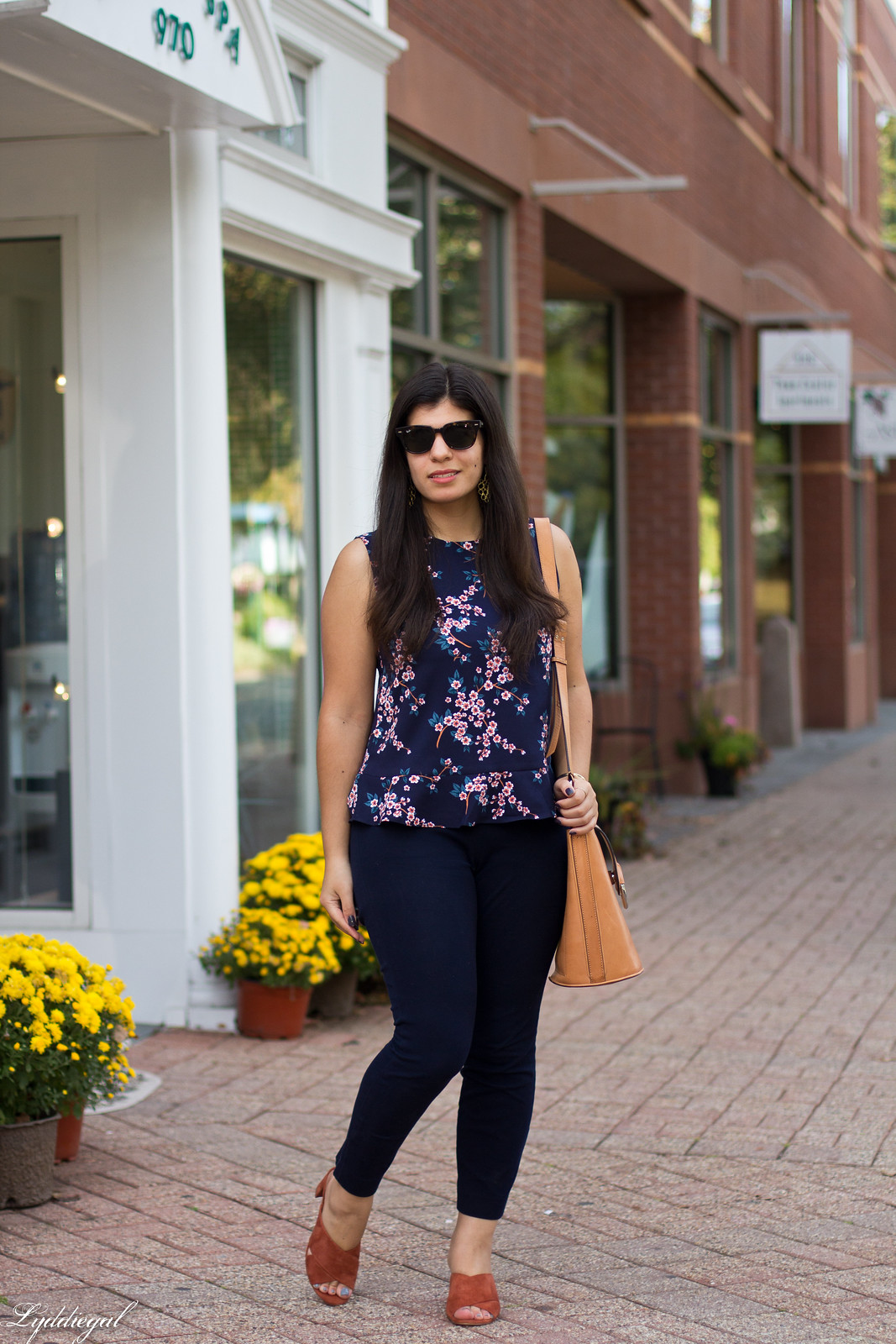 cherry blossom print top, navy pants, rust mules