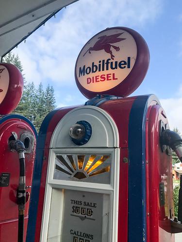 Vintage gas pumps in Gustavus, AK