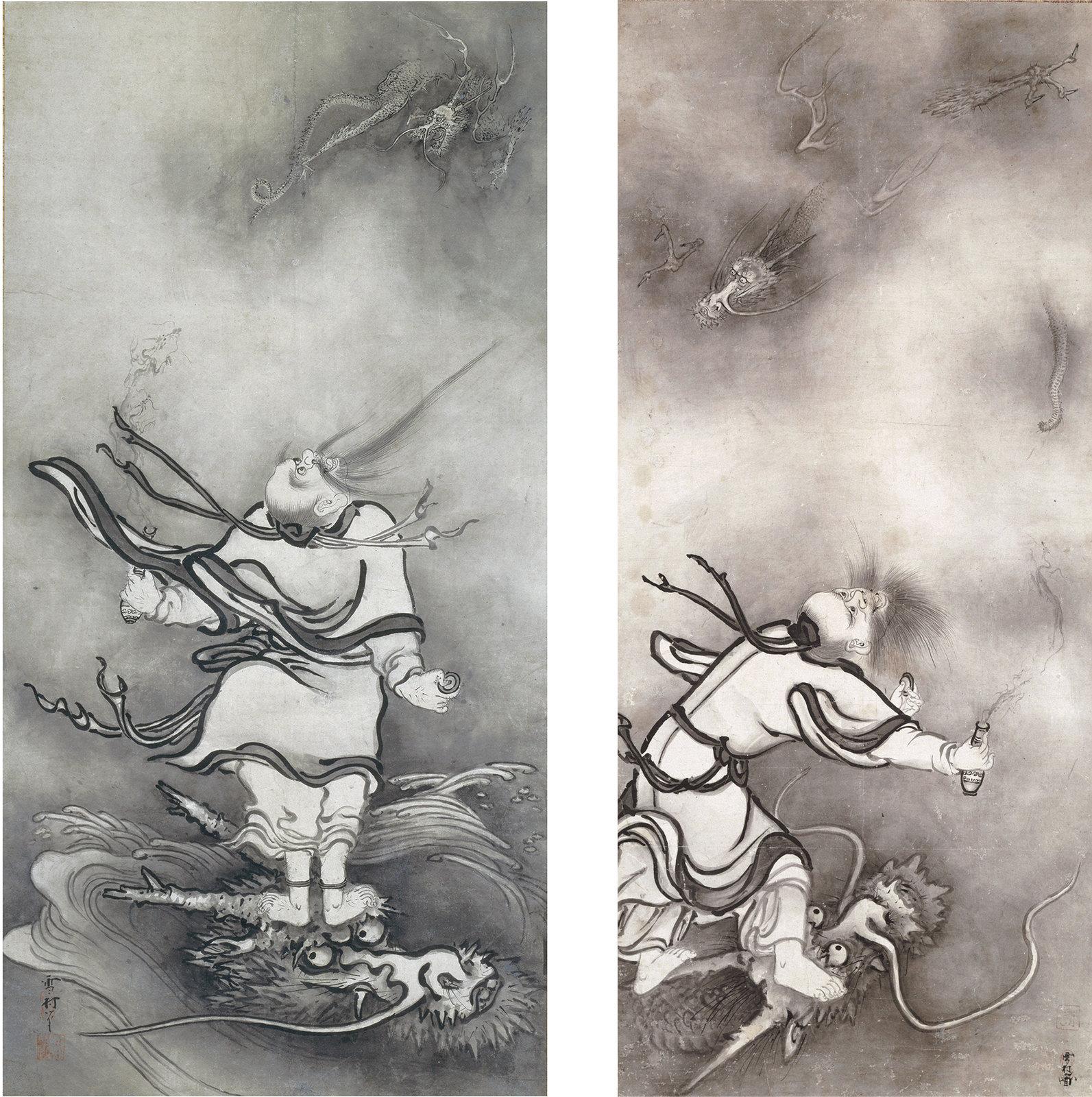 重要文化財《呂洞賓図》(大和文華館、~8月20日) 重要文化財《呂洞賓図》(大和文華館、8月22日~)