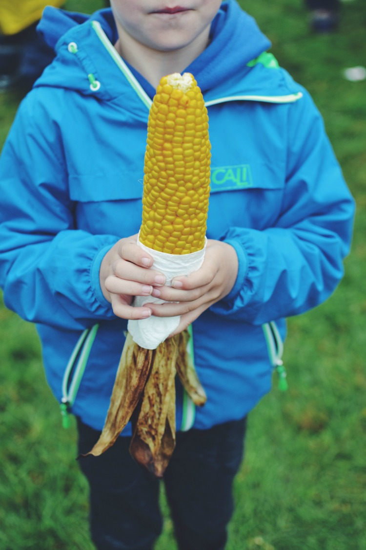 Corn on the cob with food Camp bestival