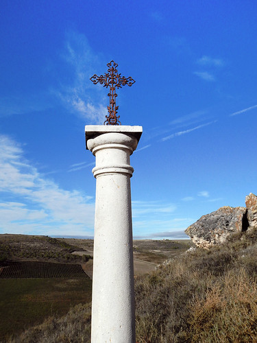 Cross at Castillo de Curiel, a renovated medieval castle that had been converted into a hotel