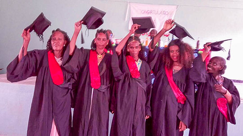 The first five women to graduate from the six-month embroidery training course at the Sister of St Louis Women Empowerment Centre in Dawhan