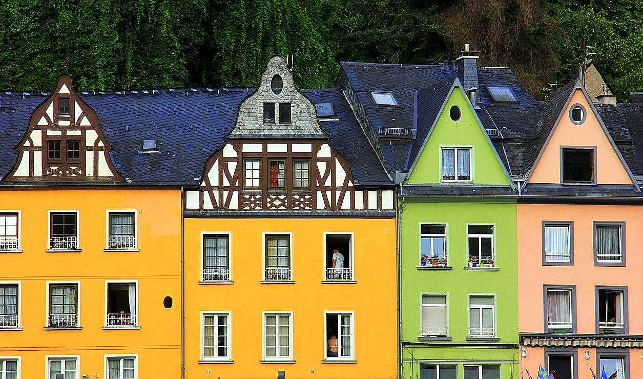 Colourful houses of towns along the Moselle River
