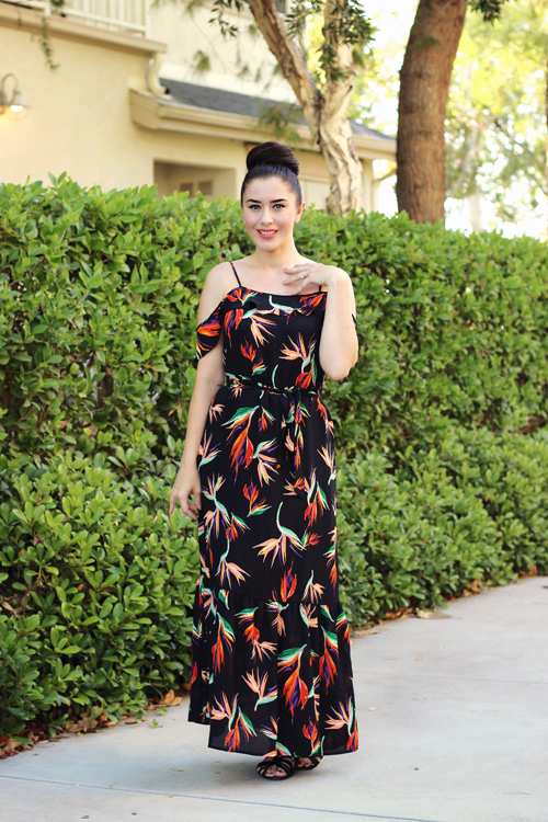Target Mossimo Women's Printed Cold Shoulder Ruffle Dress Southern California Belle