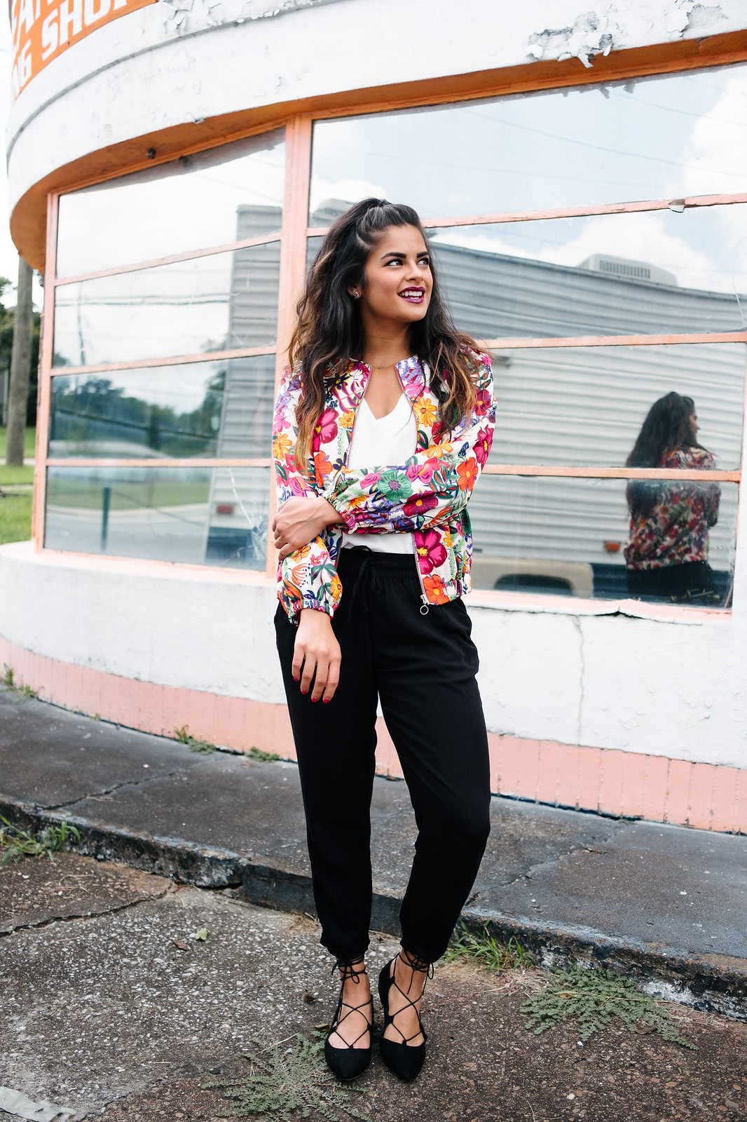Nashville fashion blogger, Zara silk floral bomber