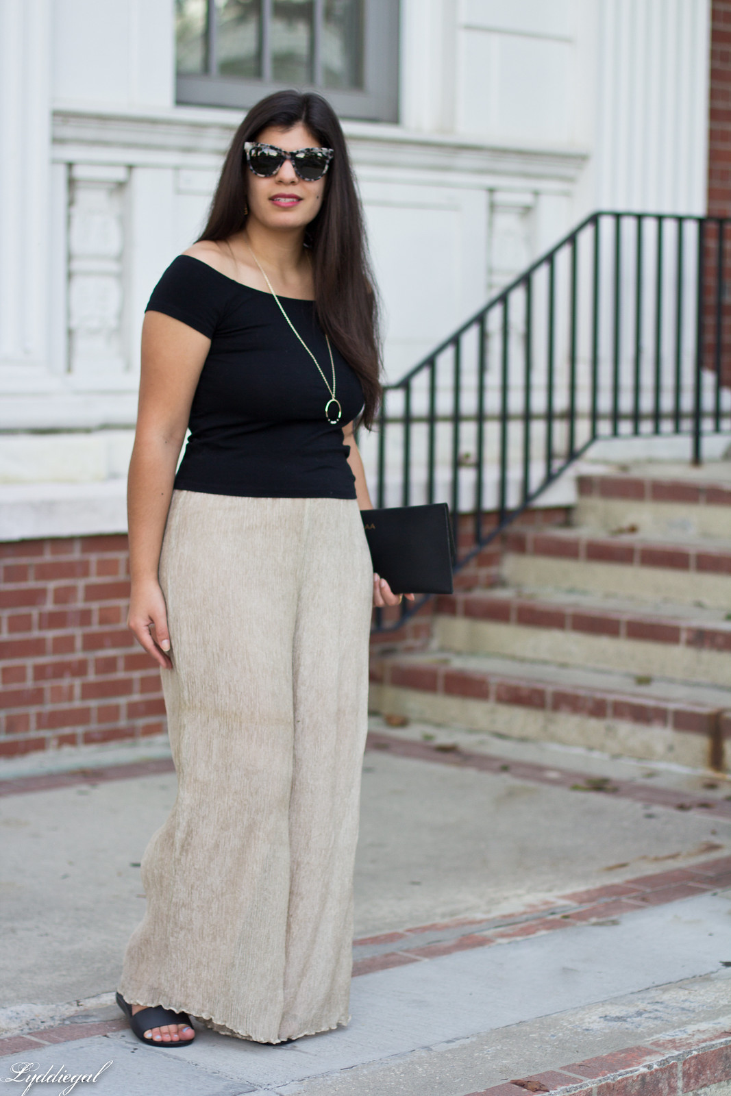 off the shoulder tee, shimmer pants, scalloped clutch