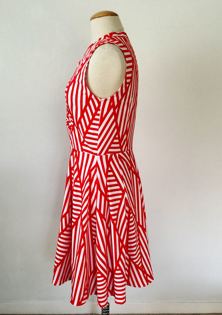 red white knit dress side view
