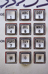 Public phone metal console with different buttons