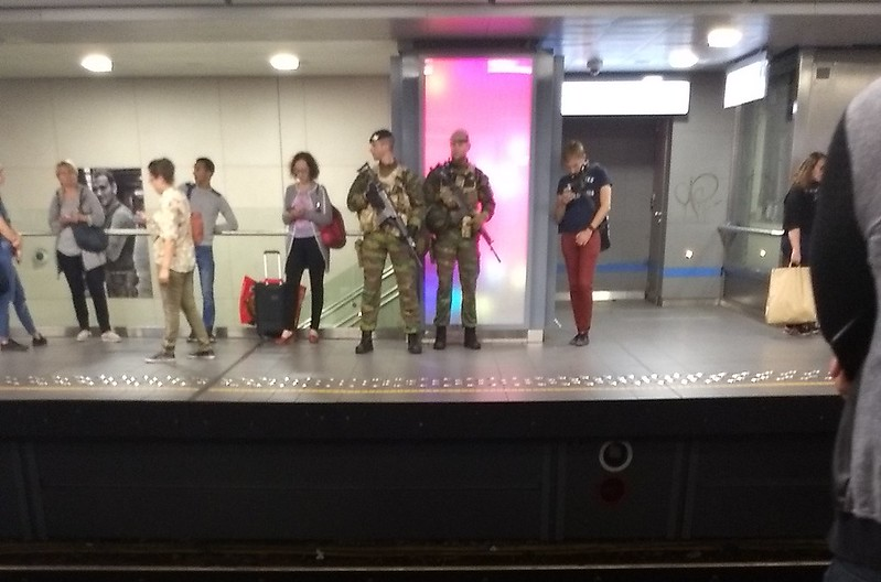 Soldiers on duty at a Brussels Metro station